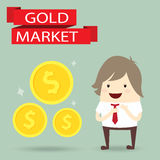 Businessman is happy strategy gold marketing, business concept Royalty Free Stock Photography