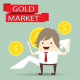 Businessman is happy strategy gold marketing, business concept Stock Images