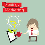 Businessman is happy strategy marketing Royalty Free Stock Images