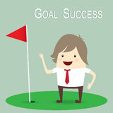 Businessman is happy strategy marketing goal success, business c Stock Photos