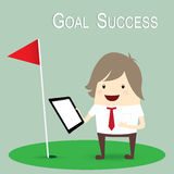 Businessman is happy strategy marketing goal success, business c Stock Photography