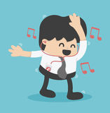 Businessman happy to listen to music in the office, dance. Royalty Free Stock Images