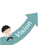 Businessman happy to running on green arrow with word Vision, road to success concept, presented in  form Stock Images