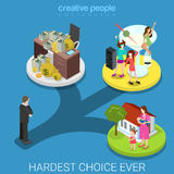 Businessman hard choice rich family flat 3d isometric  Stock Photography