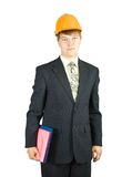 Businessman in hard hat with documents Royalty Free Stock Image