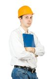 Businessman in hard hat with documents Royalty Free Stock Photo