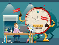 Businessman hard work at night. Giant clock robot standing on background, motivate him to work. vector Stock Image