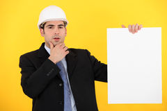 Businessman in a hardhat Royalty Free Stock Photos