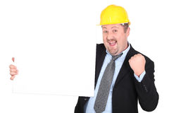 Businessman in a hardhat Stock Image