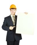 Businessman in hardhat holding banner Royalty Free Stock Photos