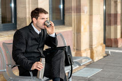 Businessman has a break Stock Images