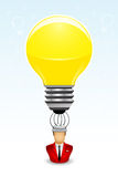 Businessman has a bright idea. Vector illustration of a Businessman with lightbulb above his head Stock Image