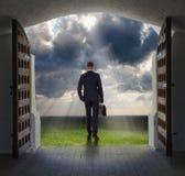 Businessman has found exit, concept stock photo