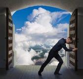 Businessman has found exit, concept Stock Photos
