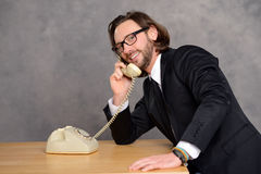 Businessman has a good,  phone call Royalty Free Stock Photo