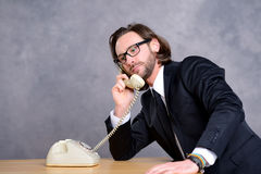 Businessman has a good,  phone call Stock Image