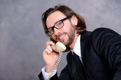 Businessman has a good  phone call Stock Image