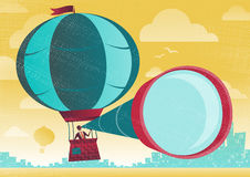 Businessman has a great view in a Hot Air Balloon. Stock Images