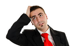 Businessman has an idea. Young businessman wondering and thinking about new idea Stock Photo