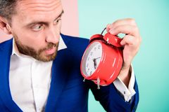 Businessman has lack of time. Time management skills. How much time left till deadline. Time to work. Man bearded. Surprised businessman hold clock. Stress royalty free stock images