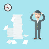 Businessman has a lot of work to do. Flat office illustration. Stock Image