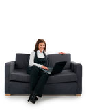 The businessman has settled down on a sofa Stock Photo
