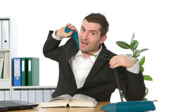 Businessman has stress Royalty Free Stock Photography