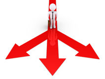 Businessman has to choose direction. 3d businessman standing on path has three choices Stock Images
