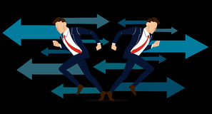 Businessman has to make decision which way to go for his success vector illustration Royalty Free Stock Photos