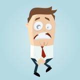 Businessman has to pee very urgently Stock Photo