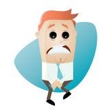 Businessman has to pee very urgently. Illustration of a businessman who has to pee very urgently Stock Photo