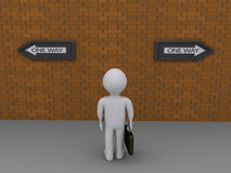 Businessman has two options. 3d businessman is looking at signs pointing at different directions Royalty Free Stock Photography