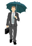 Businessman has an Umbrella,front view, Stock Photography