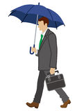 Businessman has an Umbrella,side view,Isolated Stock Photography