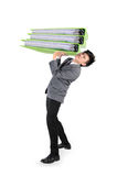 Businessman have big folder document in hard working concept Royalty Free Stock Images