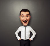 Businessman have the big head. And very happy Royalty Free Stock Image