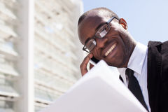Businessman have phone conversation Royalty Free Stock Images