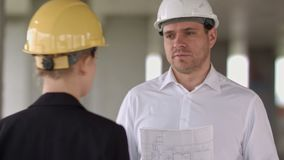 Businessman have problem and angry at construction site building stock video footage
