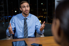 Businessman having a discussion in office Stock Images