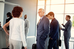 Businessman having discussion whit business woman Royalty Free Stock Image