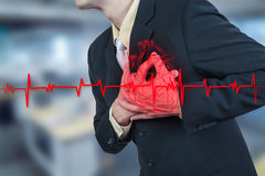 Businessman having heart attack,insurance concept Royalty Free Stock Photography