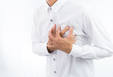 Businessman having heart attack isolate Royalty Free Stock Image