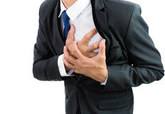 Businessman having heart attack isolate Stock Photo