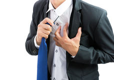 Businessman having heart attack isolate Royalty Free Stock Photography