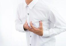 Businessman having heart attack isolate Stock Photos