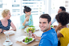 Businessman having lunch Royalty Free Stock Image