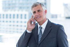 Businessman having a phone call Stock Images