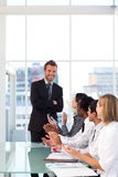 Businessman having success in a meeting Stock Image
