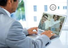 Businessman having video calling on laptop Stock Photography