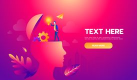 Businessman on head with brain idea. Vector illustration Eps10 file. Text and Texture in separate layers and copy space. Businessman on head with brain idea stock illustration
